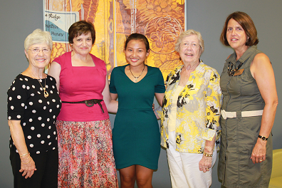 Twin Rivers branch of the American Association of University Women (AAUW) present scholarship to Craven Community College student Mayhlaing Way (L to R) Ann Corby, AAUW Scholarship Committee Co-Chair, Theresa Harrigan, AAUW Scholarship Committee Co-Chair, Mayhlaing Way, Craven Community College student, Mary A. Peterson, AAUW President, and Judy Eurich, Executive Director of Institutional Advancement